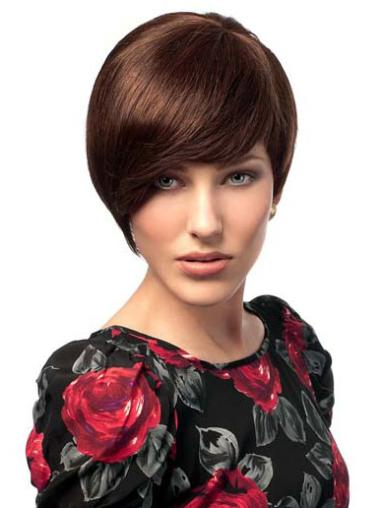Auburn Straight Short Human Hair Wigs