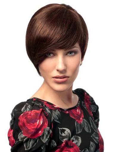 Cheapest Auburn Straight Short Human Hair Wigs