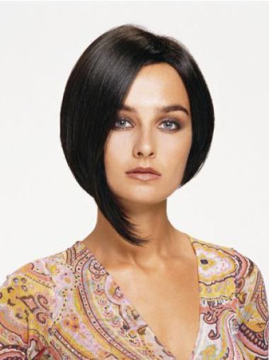 Convenient Black Lace Front Chin Length Human Hair Wigs
