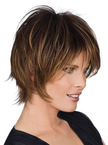 Popular Brown Straight Short Human Hair Wigs