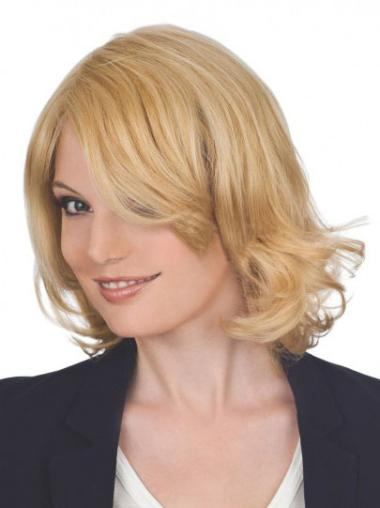 Blonde Wavy Chin Length Lace Front Wigs
