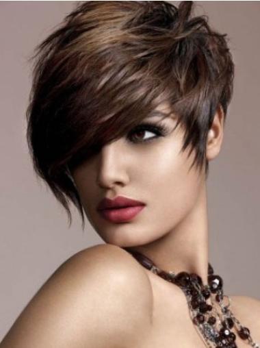 Modern Brown Straight Short Human Hair Wigs