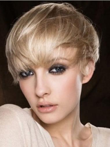 Easy Blonde Straight Cropped Human Hair Wigs