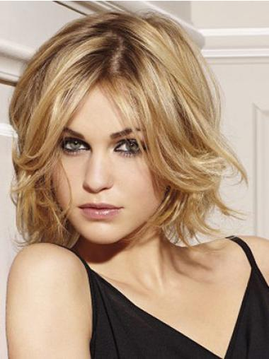 No-fuss Blonde Wavy Chin Length Remy Human Lace Wigs For Cancer