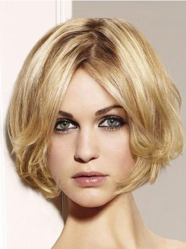 Preferential Blonde Wavy Chin Length Remy Human Lace Wigs For Cancer
