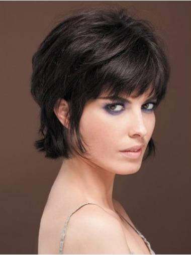 Refined Black Straight Short Human Hair Wigs