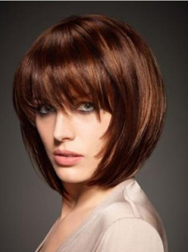 Designed Auburn Straight Chin Length Human Hair Wigs
