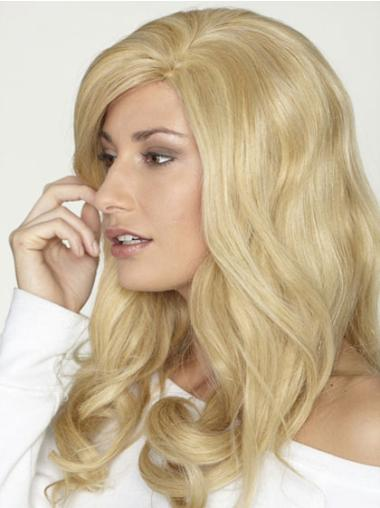 Blonde Curly Remy Human Hair Flexibility Long Wigs