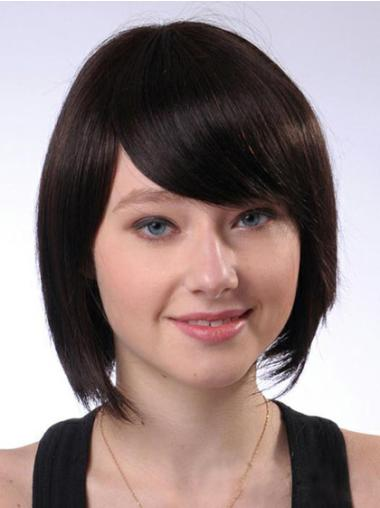 High Quality Brown Straight Chin Length Human Hair Wigs