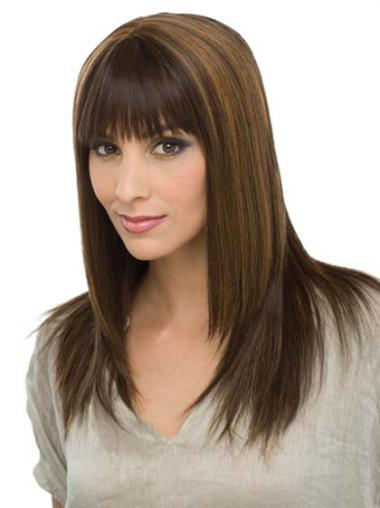 Sleek Brown Straight Long Human Hair Wigs