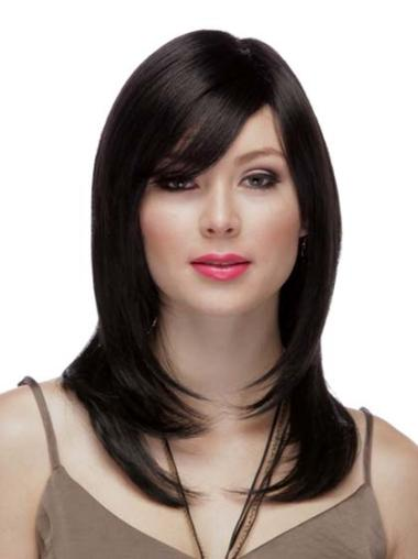 Cheap Black Straight Remy Human Hair Long Wigs