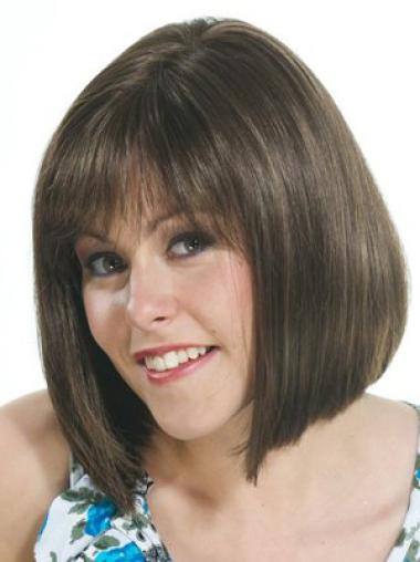Good Brown Straight Chin Length Wigs For Cancer