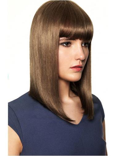 Stylish Brown Straight Shoulder Length Human Hair Wigs