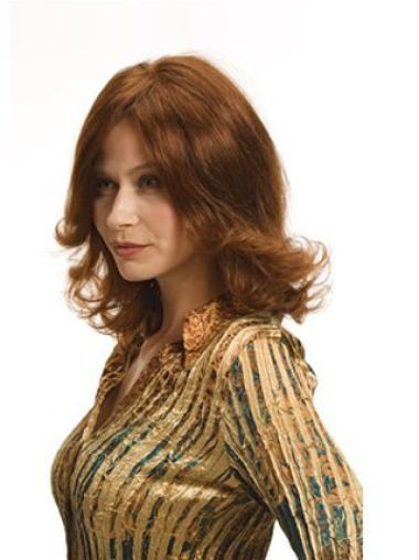 Refined Auburn Wavy Shoulder Length Wigs