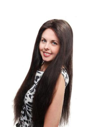 Sleek Black Straight Remy Human Hair Long Wigs