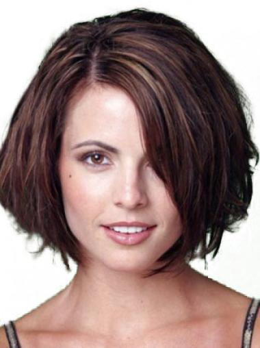 Exquisite Auburn Lace Front Chin Length Wigs For Cancer