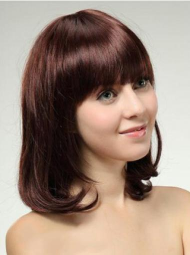 Fashionable Auburn Straight Shoulder Length Wigs