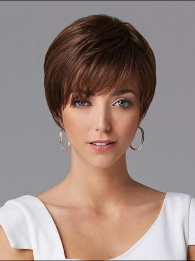 Gorgeous Auburn Straight Cropped Human Hair Wigs