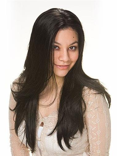 Faddish Black Straight Long Human Hair Wigs