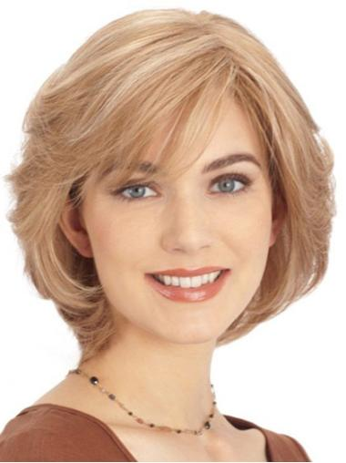 Blonde Monofilament Remy Human Hair Impressive Wigs For Cancer
