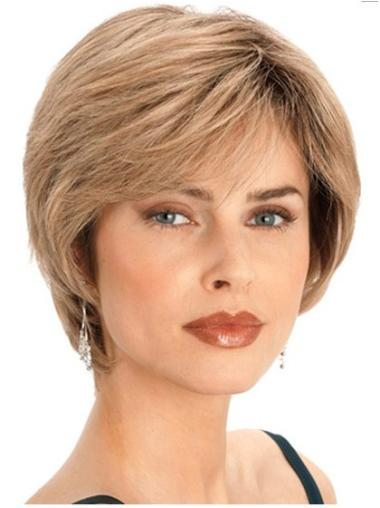 Graceful Blonde Straight Short Human Hair Wigs