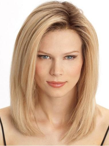 Popular Blonde Straight Shoulder Length Lace Front Wigs