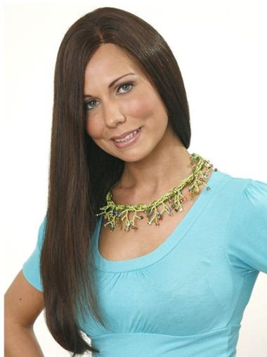 Easeful Brown Straight Long Human Hair Wigs
