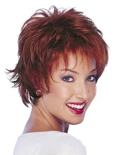 Stylish Red Wavy Short Human Hair Wigs