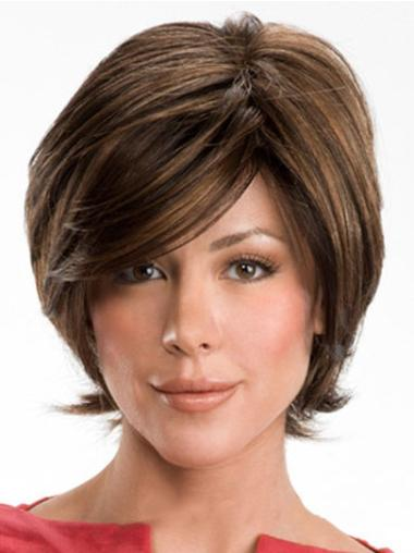 Sassy Brown Wavy Short Human Hair Wigs