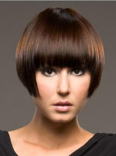 Exquisite Auburn Straight Short Human Hair Wigs