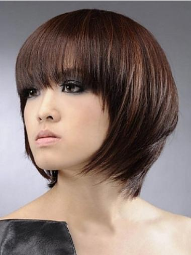 Convenient Auburn Straight Chin Length Human Hair Wigs