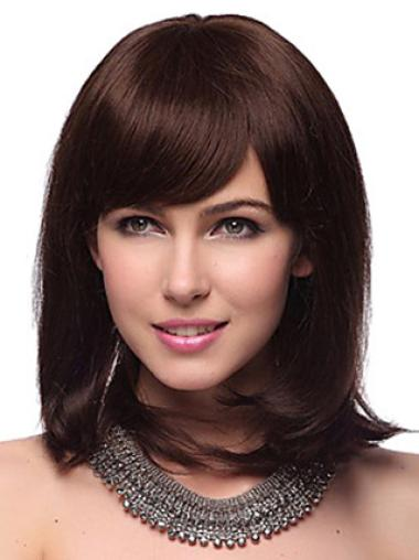 Popular Auburn Straight Shoulder Length Human Hair Wigs