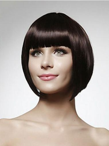 Trendy Black Straight Chin Length Human Hair Wigs