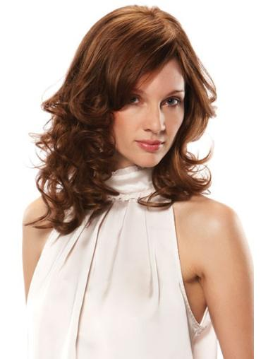 Monofilament Gentle Wavy Remy Human Hair Medium Wigs
