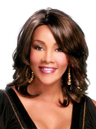 Style Brown Curly Shoulder Length African American Wigs
