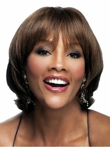 Durable Brown Wavy Chin Length African American Wigs