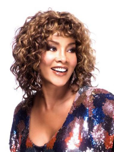 Designed Auburn Curly Shoulder Length African American Wigs