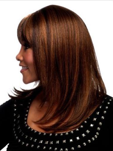 Durable Auburn Straight Shoulder Length African American Wigs