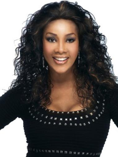 Top Black Curly Long Glueless Lace Front Wigs
