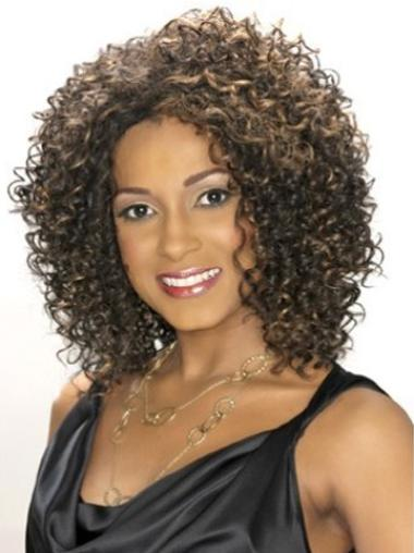 Convenient Curly Shoulder Length Lace Wigs