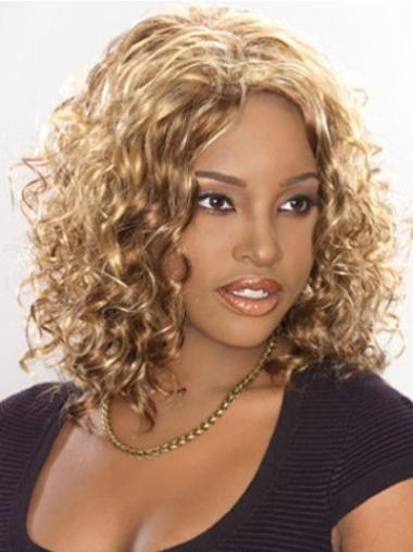 Fabulous Blonde Curly Shoulder Length Lace Wigs