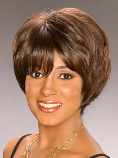 Beautiful Brown Wavy Short African American Wigs