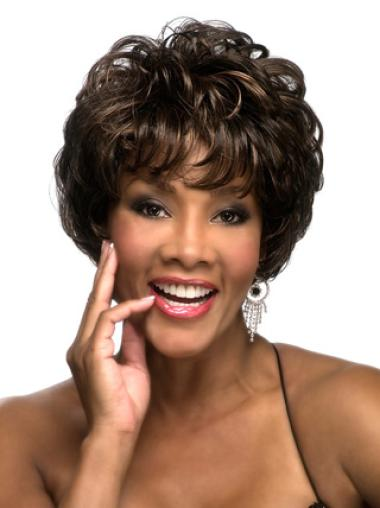 Sassy Brown Curly Cropped African American Wigs
