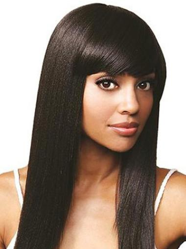 Easeful Black Straight Long Human Hair Lace Front Wigs