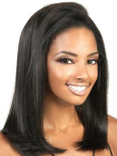 Mature Black Lace Front Shoulder Length Glueless Lace Wigs