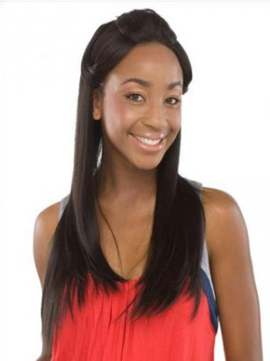 Nice Black Straight Long Human Hair Lace Front Wigs