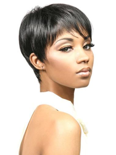 Pleasing Black Straight Cropped African American Wigs