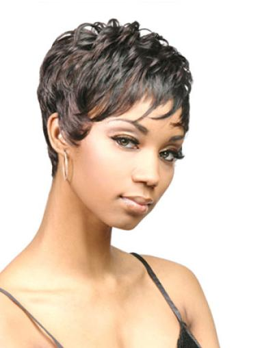 Easy Black Wavy Cropped African American Wigs