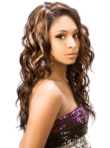 Easeful Brown Wavy Long African American Wigs