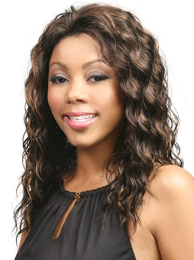 Nice Brown Wavy Long Glueless Lace Front Wigs